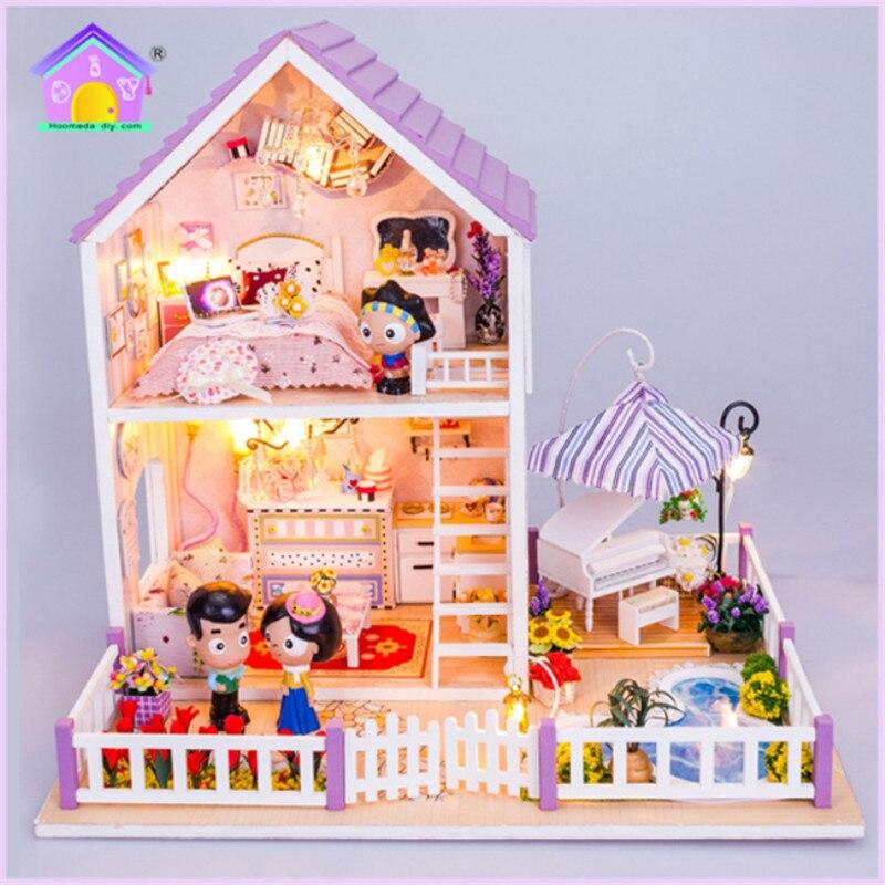 Hoomeda Новый миниатюрный деревянный кукольный домик с DIY мебель Непоседа игрушки для детей подарок на день рождения романтический фиолетовый ...