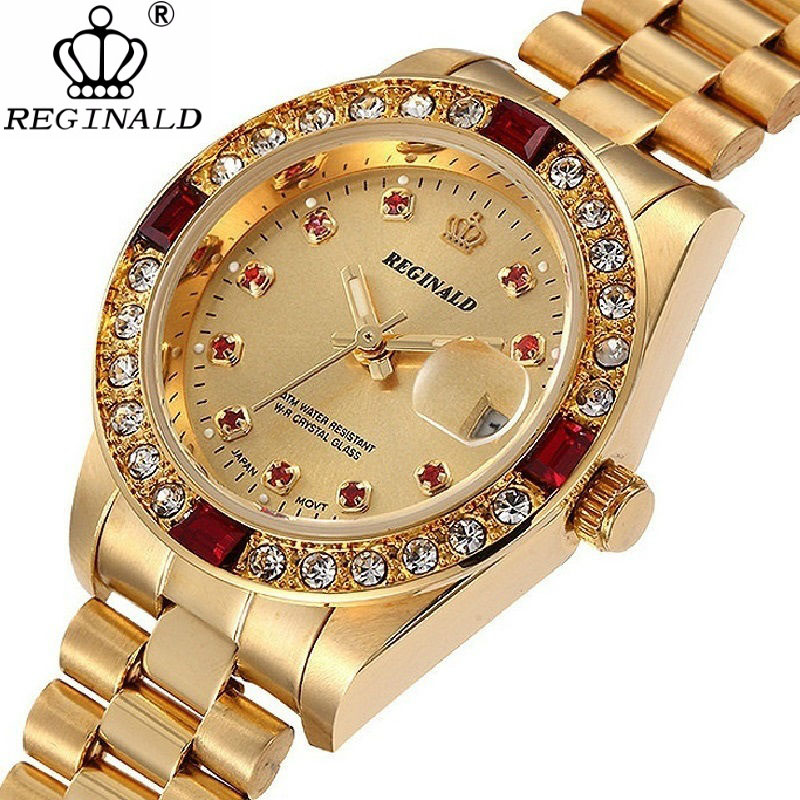REGINALD Luxury Gold Mens Watches Unique Business Dress Wristwatch for Man Woman Clock Golden montre homme marque de luxeQuartz Watches   -