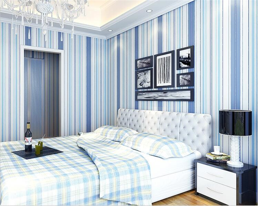 beibehang Mediterranean Blue Vertical Stripes Background 3d Wallpaper Simple Living Room TV Background Modern Wall paper tapety mediterranean style sky blue wallpaper modern pure color wall paper roll for bed room livingroom