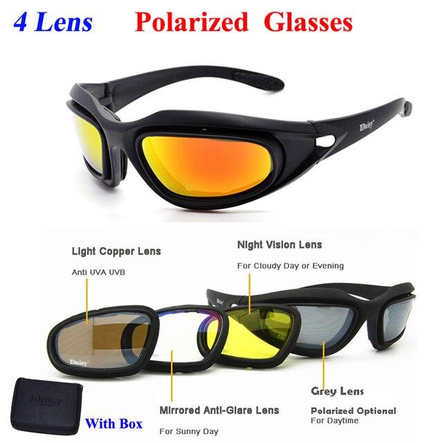 4276594f6 ديزي C5 الاستقطاب الصحراء النظارات الشمسية 4 عدسات نظارات التكتيكية نظارات  حماية العين لالادسنس UV400 نظارة