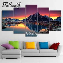 FULLCANG Diy 5PCS Full Square Diamond Embroidery Mountains And Lakes Scenery Diamond Painting Cross Stitch 5D Mosaic Kits D942 fullcang beauty full square diamond embroidery 5pcs diy diamond painting cross stitch mosaic kits g591