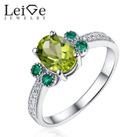 Green Peridot Rings 925 Sterling Silver For Women Engagement Anniversary Rings With Stones Gem Jewelry Oval