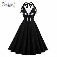 Nemidor Kadınlar Casual Kolsuz Artı Boyutu Seksi Backless Salıncak Elbise Patchwork Rockabilly Yaz 1950 s Halter A-line Elbise