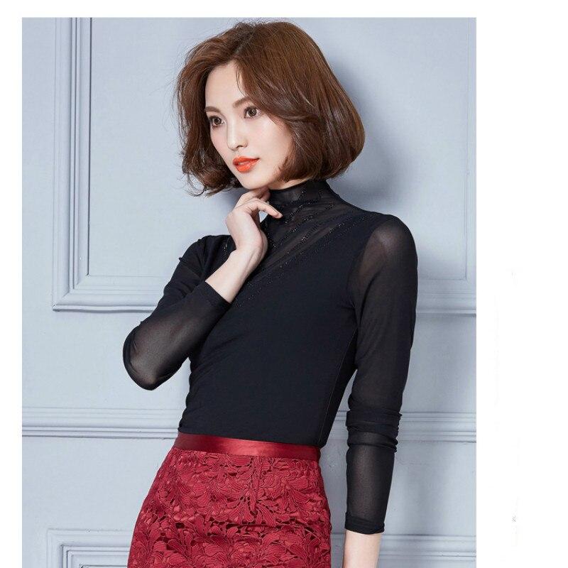 2017 Nuevo más tamaño mujeres sexy Blusas primavera moda camisa de manga  larga delgada ocasional Tops blousa 801c 25 e438e1f69723