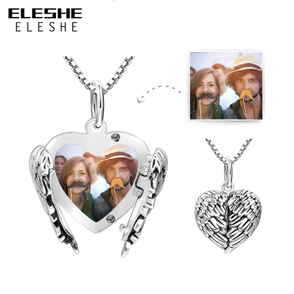 2018 New 925 Sterling Silver Heart Pendant Necklace for Women Long Chain Necklaces Personalized Custom Photo Jewelry Gift2018 New 925 Sterling Silver Heart Pendant Necklace for Women Long Chain Necklaces Personalized Custom Photo Jewelry Gift