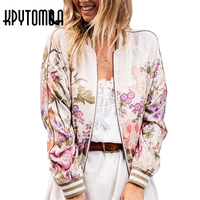 Boho Vintage Floral Printed Bomber Jacket Women Coat 2017 New Fashion Autumn Long Sleeve Casual Coats
