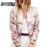 Boho Vintage Floral Printed Bomber Jacket Women Coat 2017 New Fashion Autumn Long Sleeve Casual Coats