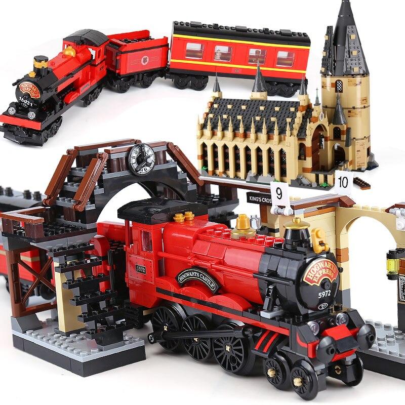 В наличии Харри фильм Поттер 832 шт. Хогвартс Экспресс Поезд Модель Совместимость с Legoings 75955 компл. здания кубики, детские игрушки
