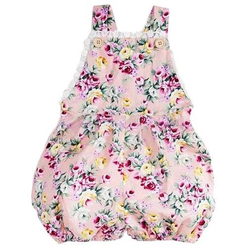 Infant Kids Toddler Baby Girl Strap Jumper Romper Jumpsuit , Rose Flower