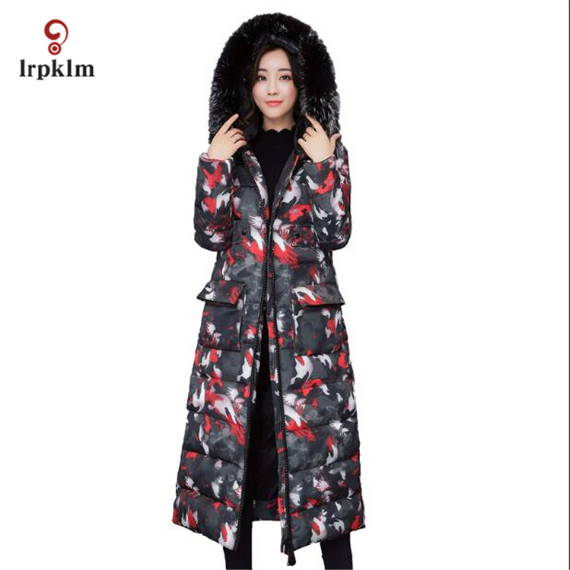2017 New Female Long Winter Parkas Thick Women Fur Collar Hooded Coat Cotton Padded Fashion Outerwear Slim Camouflage Coat PQ007 akslxdmmd parkas winter women jacket 2017 new fashion rabbit fur collar hooded thick padded cotton mid long coat female lh1073
