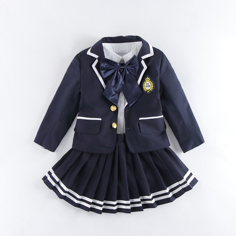 Children Uniform Cotton Fashion Student School Uniforms Girls Boys Short Cotton Jackets Shirt Dress Pants Tie Set Uniforms 3-10T