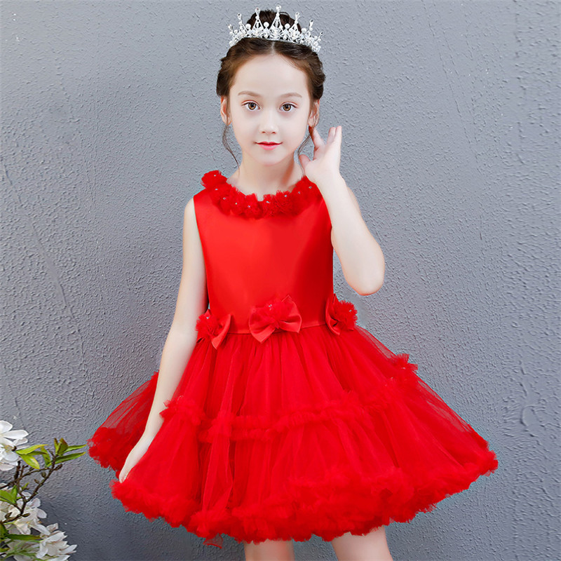 Babies Infant Good Quality Red Snow-White Color Birthday Ceremonies Party Princess Prom Dress Kids Toddler Host Tutu Mesh DressBabies Infant Good Quality Red Snow-White Color Birthday Ceremonies Party Princess Prom Dress Kids Toddler Host Tutu Mesh Dress