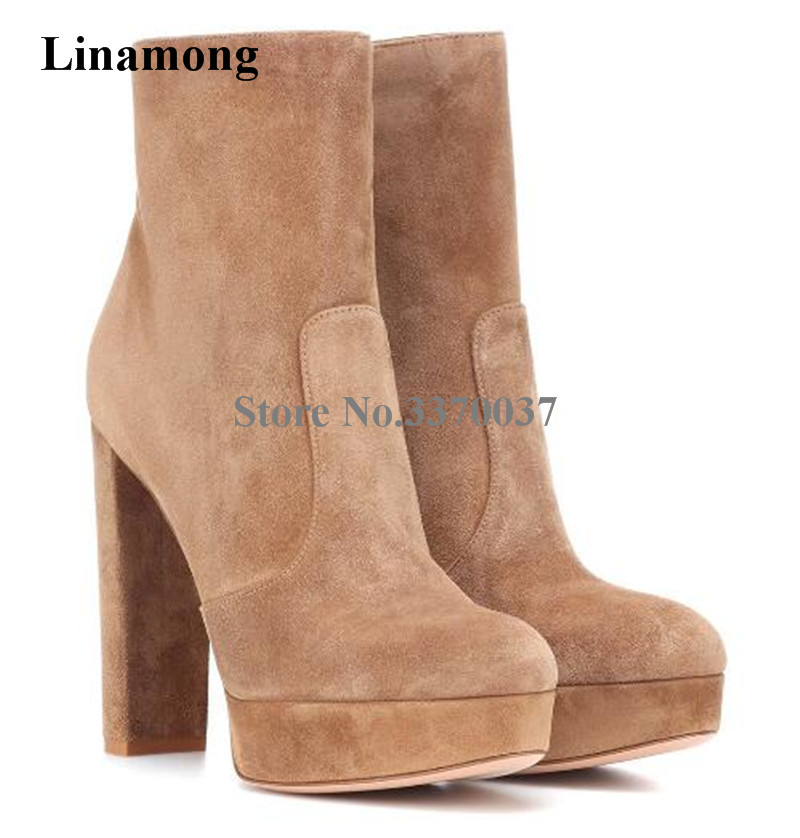 все цены на Women New Fashion Round Toe Suede Leather High Platform Chunky Heel Short Boots Zipper-up Flock Thick High Heel Ankle Boots