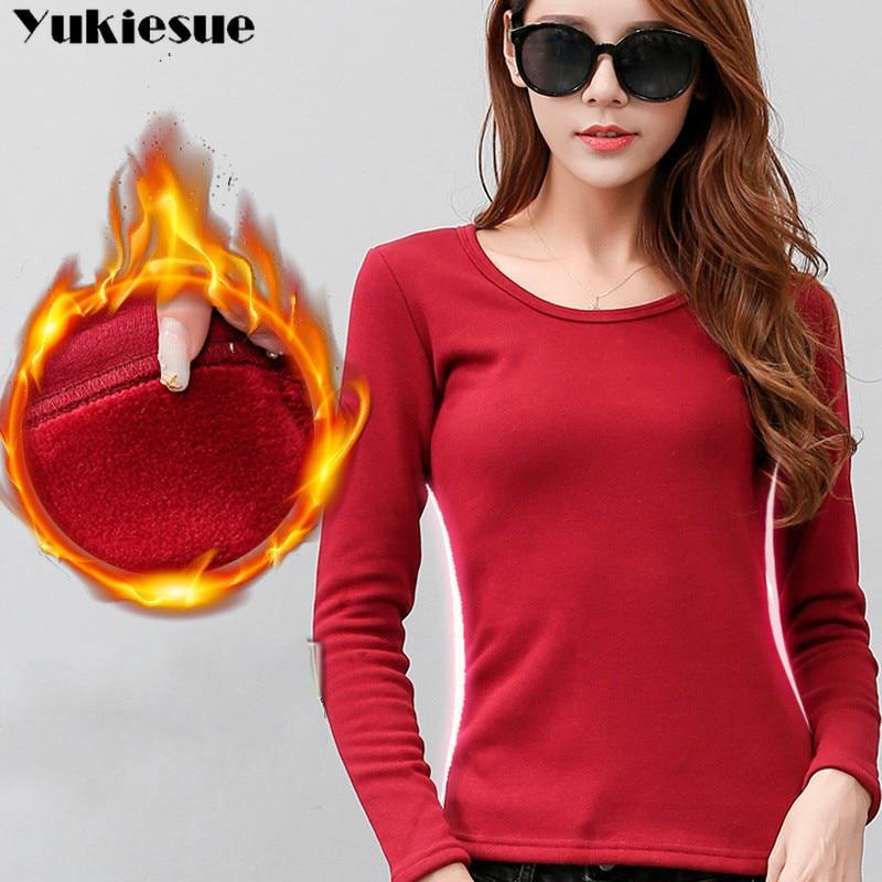 2018 Fashion Autumn Blusa Women O-neck  Warm Winter Cashmere T-shirt Tops Slim Casual Long Sleeve T Shirts Women Thick Tops