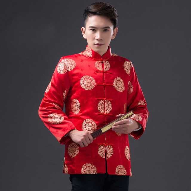 a2cbdef355a0 Red Chinese Traditional Costume Men Top Tang Suit Chinese Folk Dance Male  Hanfu Kungfu Costume Party
