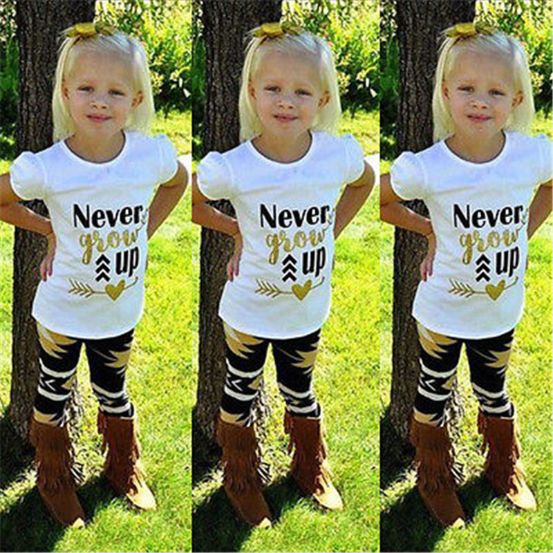 Hot sale Stylish Kids Baby Girls Clothes Tops T-shirt Pants Leggings Outfits Set Age 2-7Y