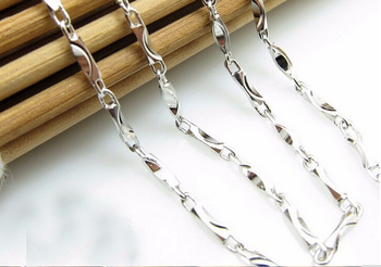 Hot sale fashion  19 inch Pure 925 Sterling Silver Necklace chain S925