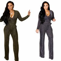 new women's jumpsuits & rompers sexy hot deep V neck gold silver threads sashes jumpers European and American style for ladies