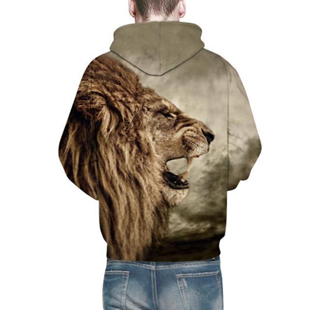 MISSKY 2018 Lovers Halloween 3D Lion Printed Hoodie Cool Animal Hooded Swearshirt Men Pullover