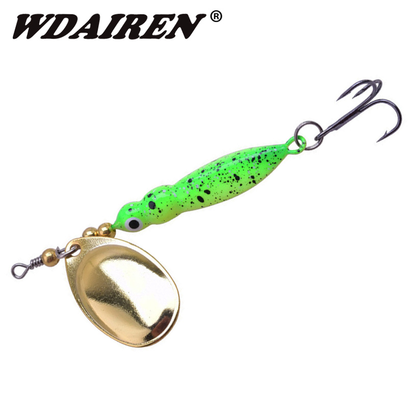 1pcs 7cm 14g Lumanare rotativă lingură de pescuit atrage Fishtype Lănțișoare metalice Sequined Lures Momeală compusă Mouth mare Mouth Bass Fishing tackle