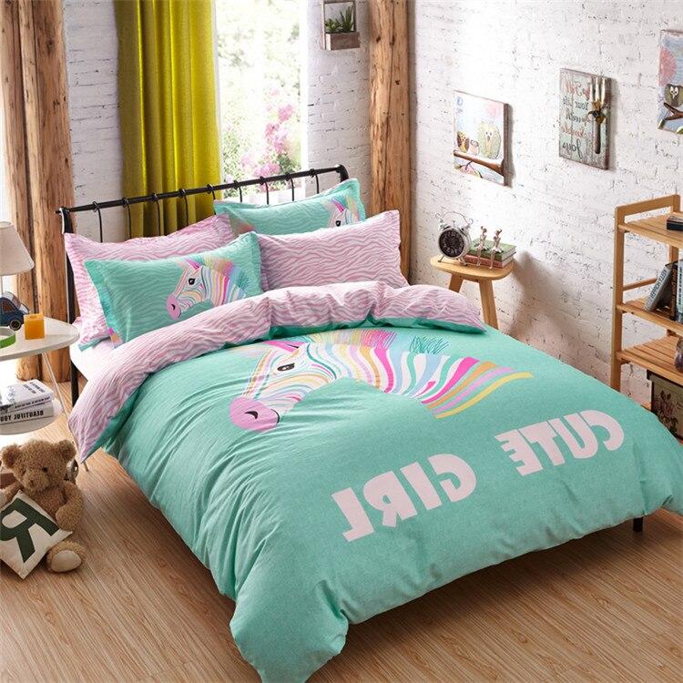 Cartoon bedding sets color horse duvet cover twin queen for Cama unicornio