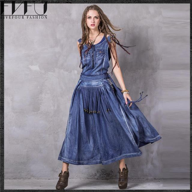 5e220774cb8 New Fashion 2018 Vintage Denim Dress Women Ethnic Style Embroidery Long  Dress Women Girls Retro Tassel Sleeveless Summer Dress