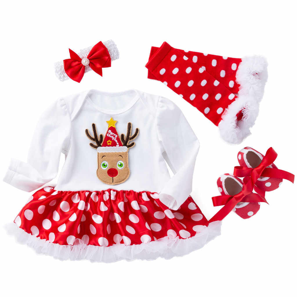 Fashion Newborn Girls Christmas Dree Dresses Santa Cartoon Dress For Baby Girl Winter New Year Party Gown Costume Top Selling