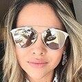 2016 nueva reflejada gafas de sol , verano estilo diseñador de la marca UV400 marco de Metal Retro Vintage ojo de gato gafas de sol femeninas