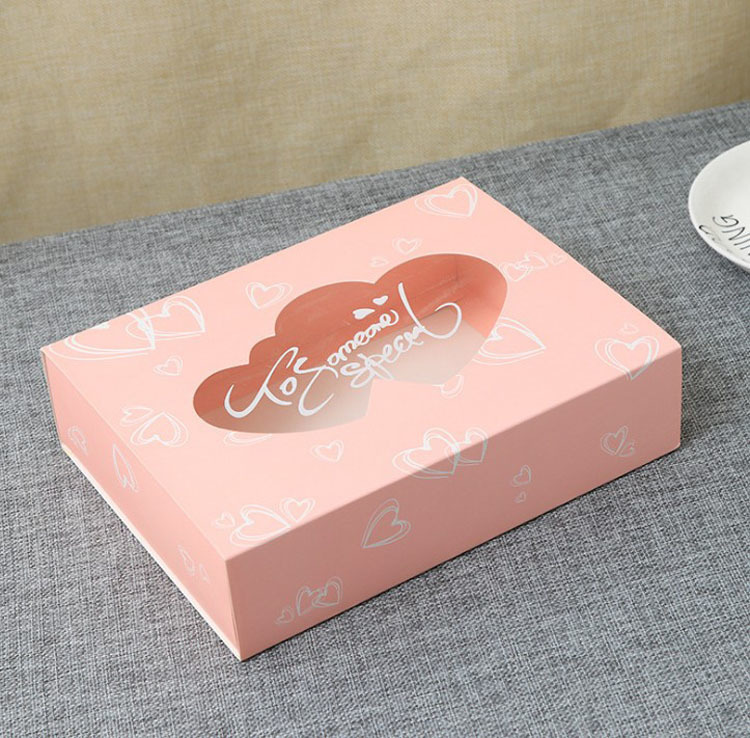 10 Pcs Wedding Gift Box Party Favor Drawer Kraft Paper Box With Window Pink Heart Cookie Candy Cup Cake Boxes And Packaging