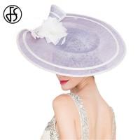 Queen Light Purple Woman Hat Elegant For Summer Linen Hat Jockey Club Ladies Vintage Banquet Wedding