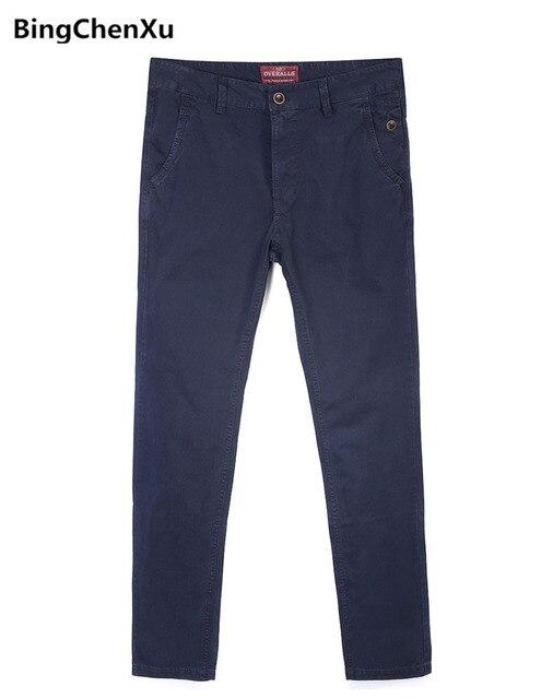 Bông giản dị Quần Thiết Kế Mới của Người Đàn Ông Slim Staraight Quần Thời Trang Rắn Dây Kéo Ngoài Trời Dài Quần pantalon moto hommes 1189