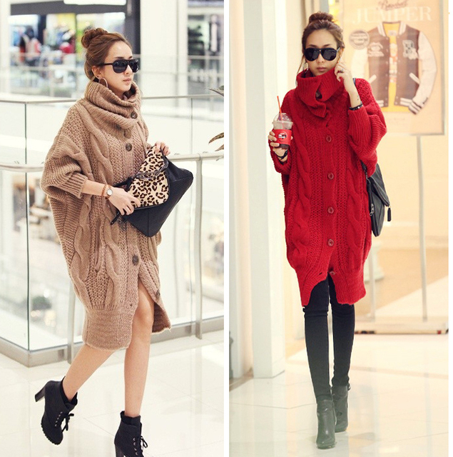 Sisouhor coarse twisted stick long design turtleneck sweater outerwear - 20710 Y911