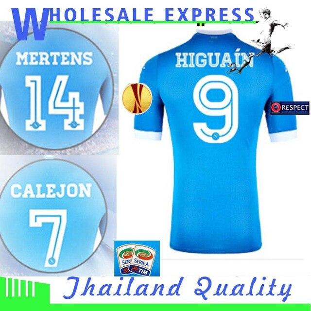 2ba125f65a847 Napoli Jersey 2016 SSC Maglia 2015 Napoles Football Shirt HIGUAIN MERTENS  HAMSIK CALLEJON Camisetas Camisa Home