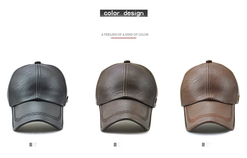 Topdudes.com - New Fashion High Quality Spring Winter Faux Leather Baseball Cap For Men