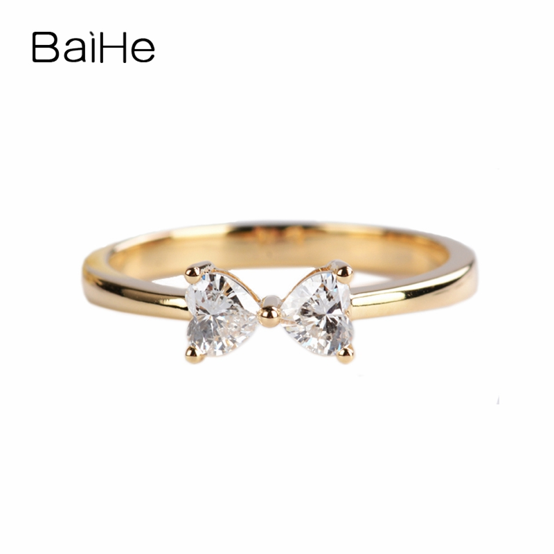 BAIHE Solid 14K Yellow Gold(AU585) About 0.34ct H/SI Heart full Cut 100% Genuine Natural Diamonds Engagement Trendy Fashion RingBAIHE Solid 14K Yellow Gold(AU585) About 0.34ct H/SI Heart full Cut 100% Genuine Natural Diamonds Engagement Trendy Fashion Ring
