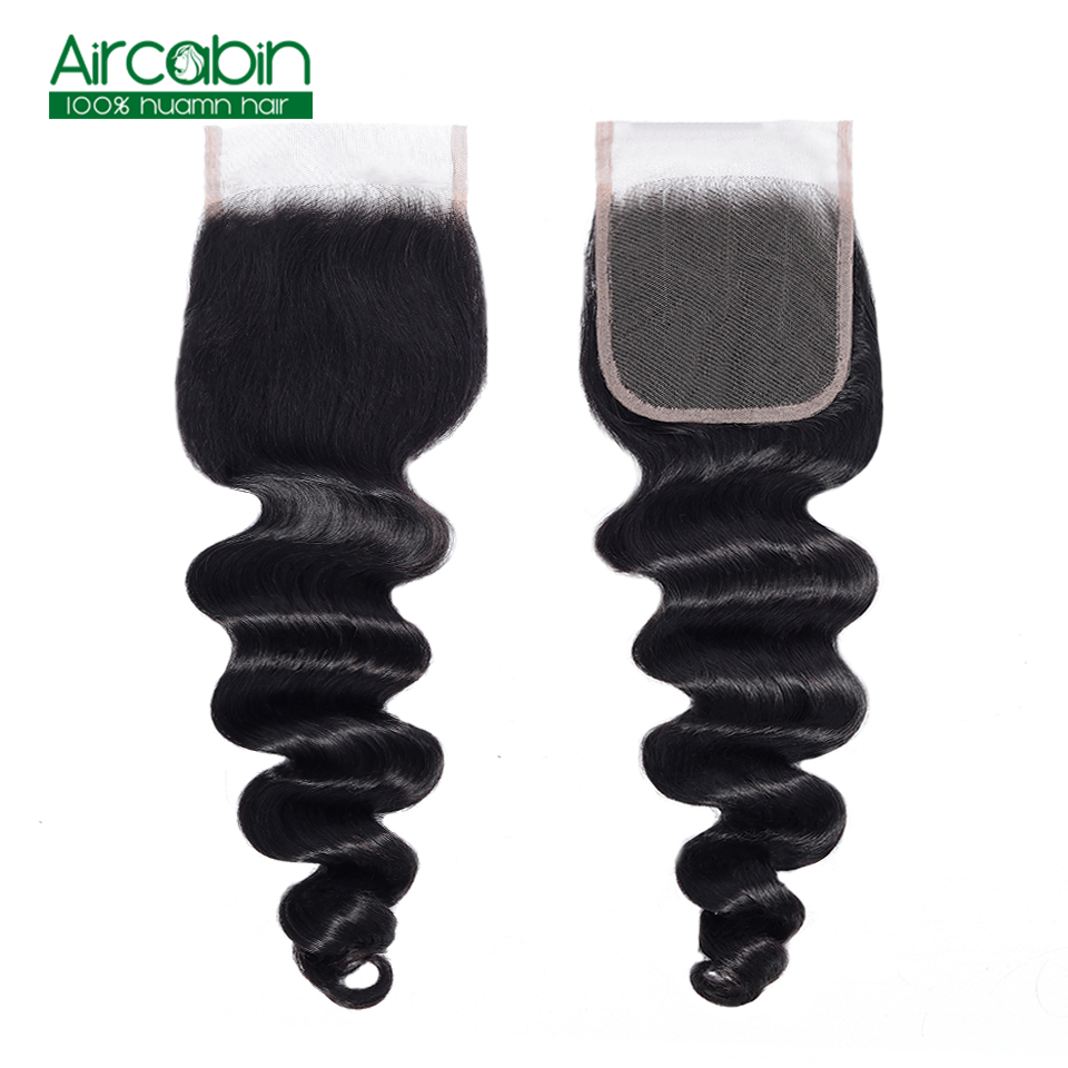 Aircabin Brazilian Human Hair Loose Deep Lace Closure 4X4 Free/ Middle/ Three Part 8-20 inch Natural Color Remy Free Shopping
