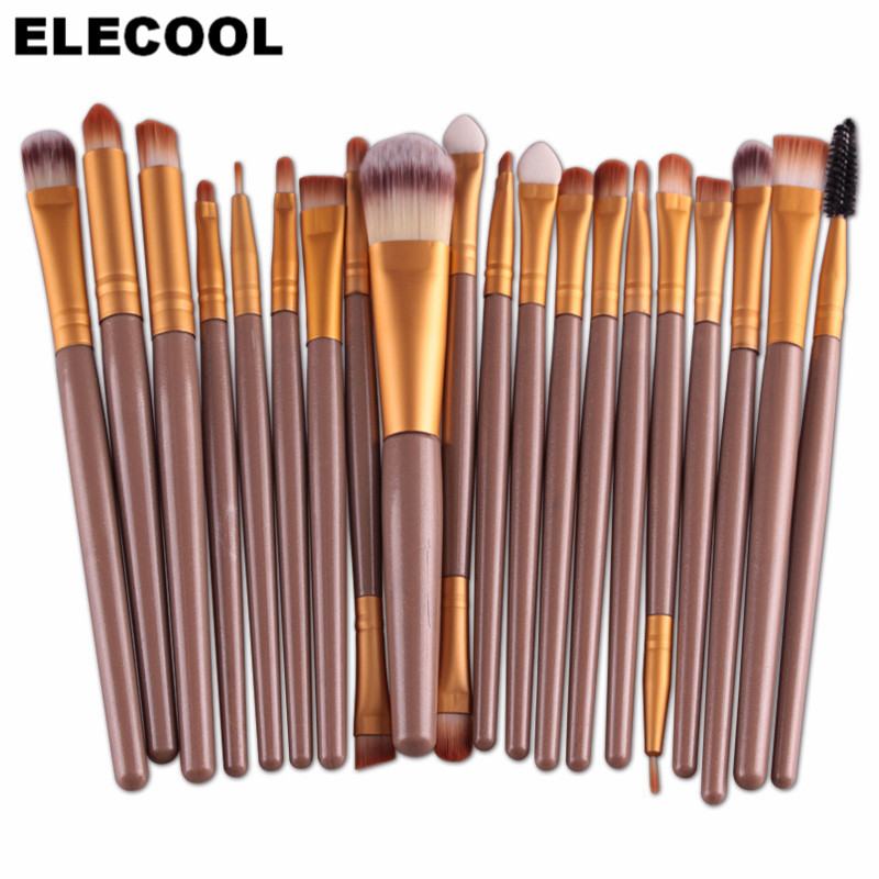 ELECOOL 20/1pcs Professional Makeup Brushes Set Eyeshadow Blending Brush Foundation Eyebrow Lip Eyeliner Brush Cosmetic Tools elecool 32 pcs makeup brush set soft