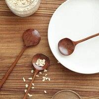 Длинные Ложки цельнокроеное платье деревянный корейский стиль 10,9 дюйм(ов) 100% натурального дерева Длинные Ложки с ручкой для супа Пособия по кулинарии мешалки Кухня инструменты