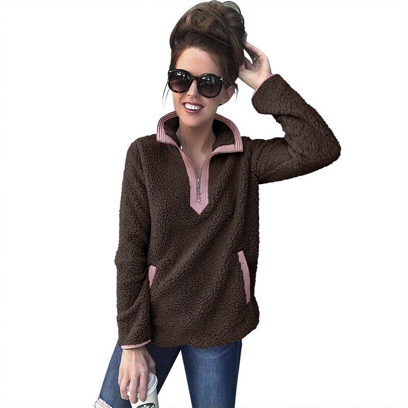 2018 Liva Girl Winter Women's 1/4 Zipper Sherpa Knit Soft Fleece Pullover Color Block Sweater Outwear Coat Kangaroo Pockets