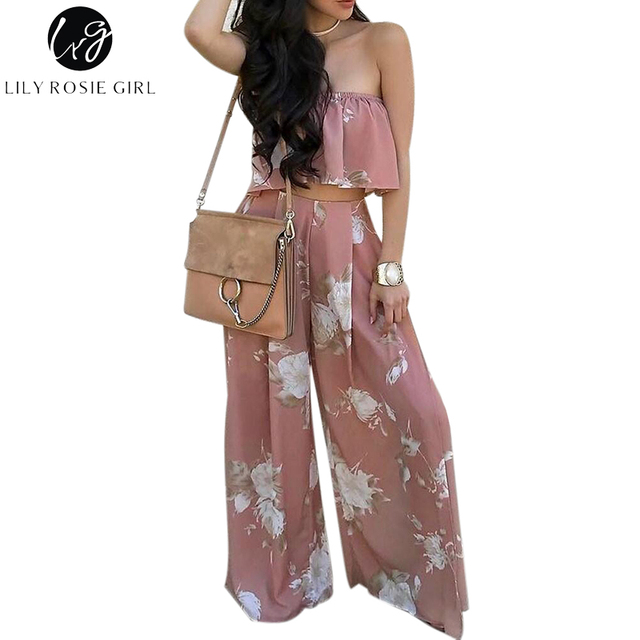 Lily Rosie Girl Boho Print Chiffon Jumpsuit Romper Women Floral Two-Piece Split Long Playsuit 2017 Summer Beach Loose Overalls