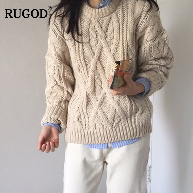 RUGOD New Fashion Female Sweater 2018 Autumn Winter Casual Thick O-Neck Solid Knitted Pullovers For Women Sueter Mujer