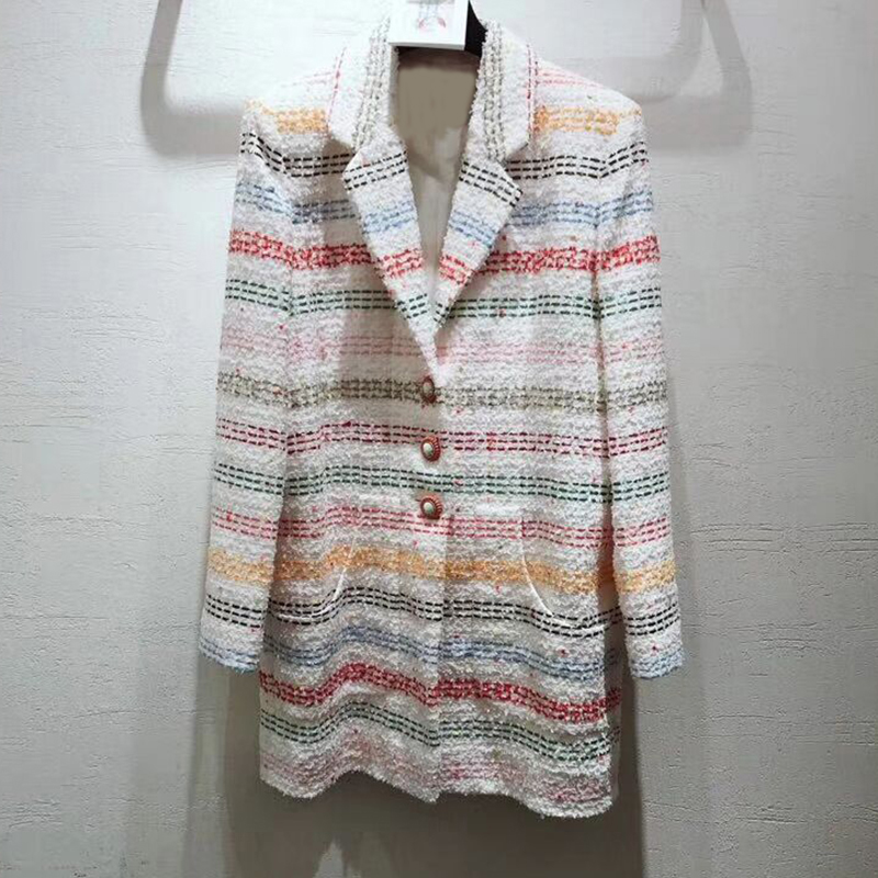 Spring new women Coat High quality custom long sleeve multicolor stitching beach shell button Jacket blouse women's silk lining