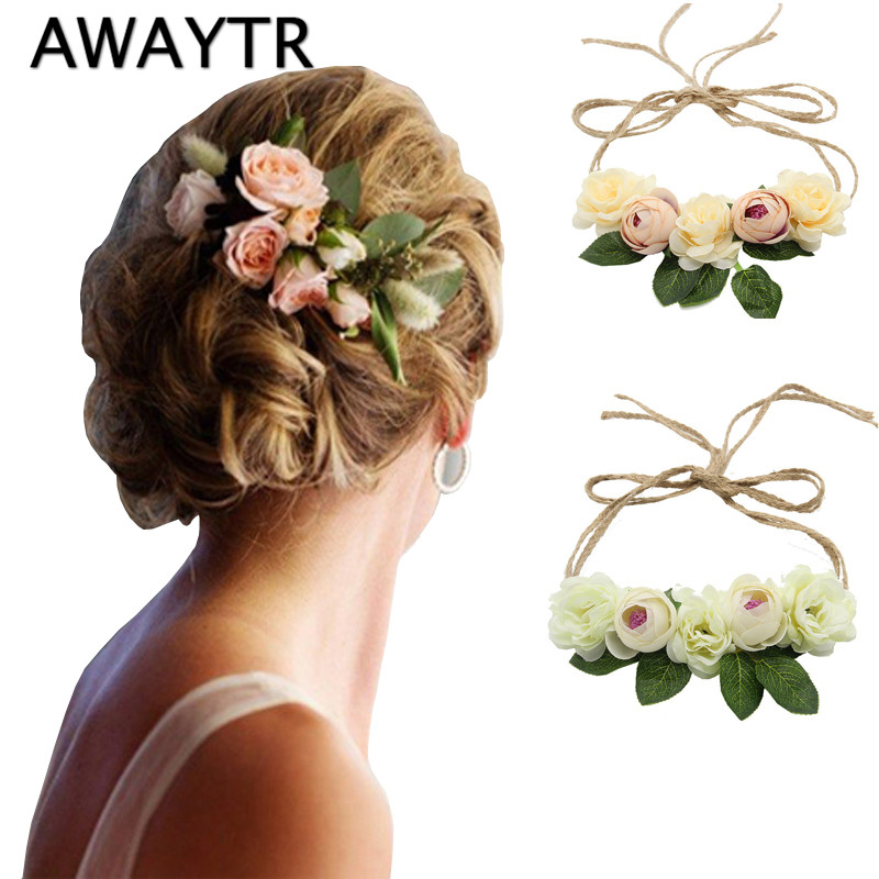 AWAYTR Bride Bohemian Flower Headband Party Floral Crown Headwear For Women Floral Garlands Adjustable Wedding Hair Wreaths