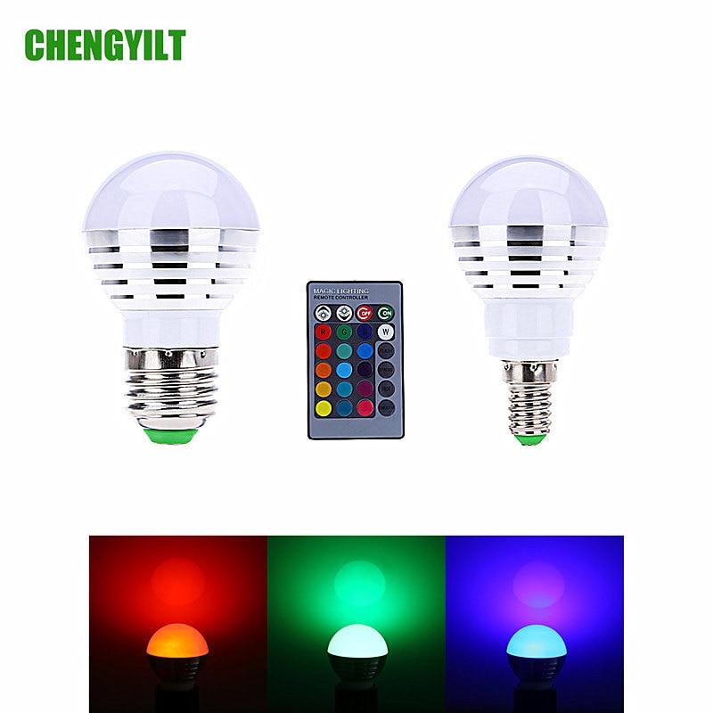 E27 E14 Base RGB LED Bulb Light AC85-265V 16 Colors Magic LED Lighting Lamp For Christmas Dimmable Spotlight IR Remote Control