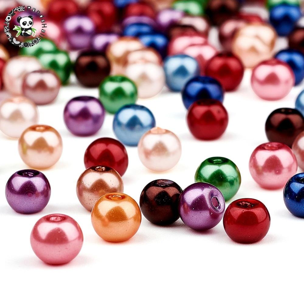 Pandahall Beads: PANDAHALL 200PCS Mixed Pearlized Glass Pearl Round Beads