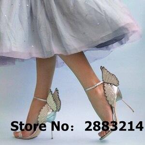 Image 5 - Evangeline sandale dange dorée, escarpins de mariage en cuir véritable, rose à paillettes, chaussures à talons hauts 3D, papillon, taille 42