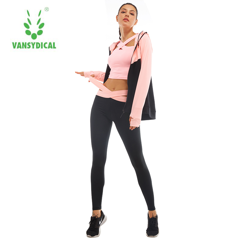 Vansydical Two-piece Tracksuit Women Sport Suits Patchwork Hooded Running Sets Sweat Pants Autumn Female Winter Jogging Suits new winter yoga suit five piece female ms breathable coat of cultivate one s morality pants sports suits running fitness