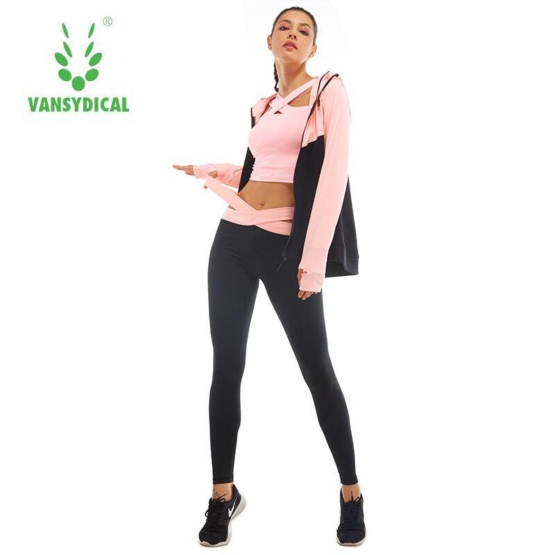 все цены на Vansydical Two-piece Tracksuit Women Sport Suits Patchwork Hooded Running Sets Sweat Pants Autumn Female Winter Jogging Suits