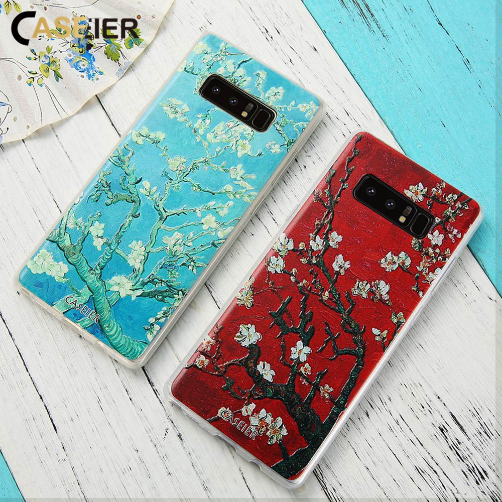 CASEIER Patterned Phone Case For Samsung Galaxy S8 Plus Soft TPU Cover Note 8 Almond Blossom Emboss Capinha Capa