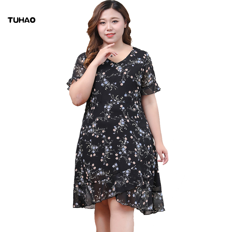 TUHAO grande taille 10XL 9XL 8XL Vintage bureau dame robes pour les femmes grande taille vêtements imprimer rétro femmes robe d'été MS73